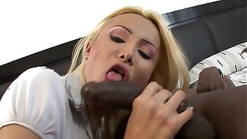 Sombre ebony cock it's too big for this shemale!