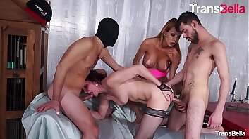 TRANS BELLA - #Renata Davila - Sexy Big Ass Tranny 4some Party With Her Friends